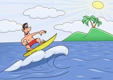 De mens op roeping surft vector illustratie