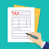 De mens overhandigt vullende belastingsvorm Vector illustratie Vlakke stijl stock illustratie
