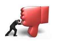 De mens probeert om rode 3D duim neer onder te duwen Stock Foto