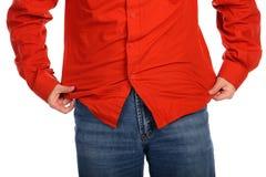 De mens raakt overhemdsclose-up Stock Foto's