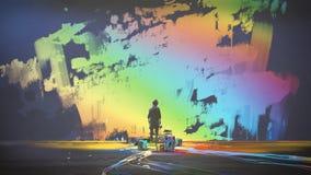De mens schildert kleurrijke borstelslag in de lucht vector illustratie