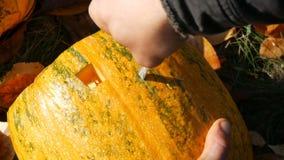 De mens snijdt gezicht voor een Halloween-pompoen Het voorbereidingen treffen voor de de herfstvakantie stock footage