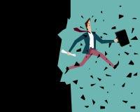 De mens springt voorbij zijn eigen grenzen: Brekende Muur Royalty-vrije Stock Afbeelding
