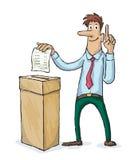 De mens stemt in verkiezingen Stock Foto