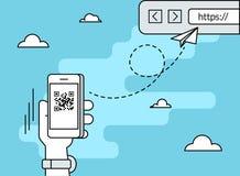 De mens tast QR-code via smartphone app af Royalty-vrije Stock Afbeelding