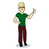 De mens toont hand met duim op colorized31 Royalty-vrije Stock Afbeeldingen