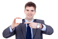 De mens toont zijn adreskaartje Stock Fotografie
