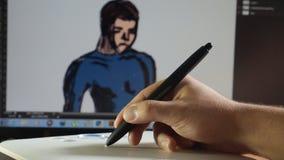 de mens trekt op grafische tablet in Photoshop stock footage