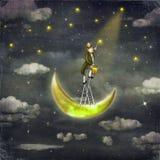 De mens trekt sterren boven lange ladder Royalty-vrije Stock Afbeeldingen