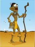 De Mens van Afrika/hemel blauwe achtergrond Vector Illustratie