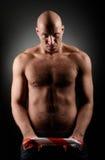 De mens van Baldhead met harige borst Stock Afbeelding