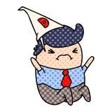 de mens van beeldverhaalkawaii in dunce hoed royalty-vrije illustratie