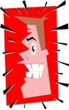 De mens van Cartoonhead beklem*tonen-uit Stock Foto