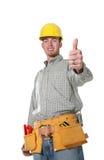 De Mens van de bouw (Nadruk op duim) stock afbeeldingen