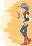 Cowboy in hoed met kanon. Vector illustratie Royalty-vrije Stock Afbeelding