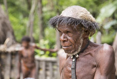 De mens van de Danistam in een dorp in Baliem-Vallei, West-Papoea, Indonesië stock foto