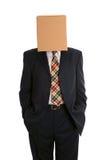 De mens van de doos dient zakken in stock afbeelding