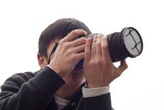 De mens van de fotograaf Stock Fotografie