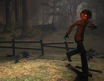 De mens van de het karakterpompoen van Halloween het lopen Royalty-vrije Stock Afbeelding