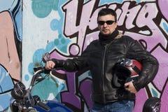 De Mens van de motorfiets Stock Fotografie