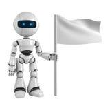 De mens van de robot en lege vlag Royalty-vrije Stock Afbeelding