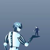 De Mens van de robotholding op Palm Moderne Kunstmatige en Futuristische het Mechanismetechnologie van de Mensenintelligentie vector illustratie