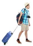 De mens van de toerist het lopen stock afbeelding