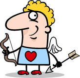 De mens van de valentijnskaart in het beeldverhaal van het cupidkostuum Royalty-vrije Stock Afbeeldingen