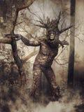 De mens van de fantasieboom in een bos royalty-vrije illustratie