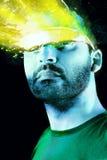 De mens van Futurist met glazen Royalty-vrije Stock Afbeeldingen