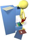 De mens van gegevens vindt dossiers in 3D bureau archiefkast Royalty-vrije Stock Afbeeldingen