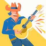 De mens van de gitaarspeler in cowboyhoed die en akoestisch zingen palying Royalty-vrije Stock Fotografie