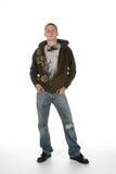 De mens van Grunge met hoofdtelefoons Stock Fotografie