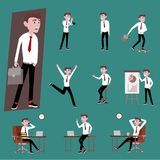 de mens van het bedrijfsambtenarensalaris in eenvormig werken varieert actie van de man gebruikend smartphone stock illustratie