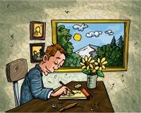 De mens van het beeldverhaal het doodling bij zijn bureau Stock Foto's