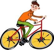 De mens van het beeldverhaal op de fiets Stock Foto