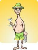 De mens van het beeldverhaal op vakantie Stock Afbeelding