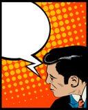 De mens van het de bellenpop-art van de toespraak Stock Foto's