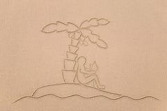 De mens van het Eiland van de woestijn Stock Afbeeldingen