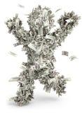 De mens van het geld. Moneybags Stock Afbeelding