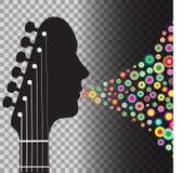 De mens van het gitaarasblok met cirkels Stock Foto
