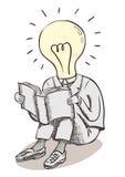 De mens van het gloeilampenogenblik Hersenenmacht en grote ideeën Stock Afbeelding
