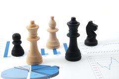 De mens van het schaak over bedrijfsgrafiek Royalty-vrije Stock Foto's