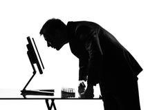 De mens van het silhouet gegevensverwerking stock afbeelding