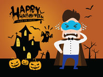 De mens van het wolkenmasker op Halloween-vampierkleding Royalty-vrije Stock Foto