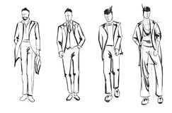 De mens van de manier Reeks modieuze mensen` s schetsen Stock Foto's