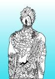 De mens van de menselijk lichaamsbloem binnen van de de energie de abstracte kunst van de geestmacht getrokken hand van het de il royalty-vrije illustratie