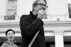 De mens van de nadrukfotografie het eten royalty-vrije stock afbeeldingen