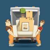 De mens van twee ladersverhuizers holding en het dragen leunstoel vector illustratie