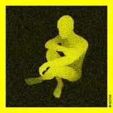 De mens van de zitting 3D Menselijk Lichaamsmodel Zwart en geel korrelig ontwerp stock illustratie